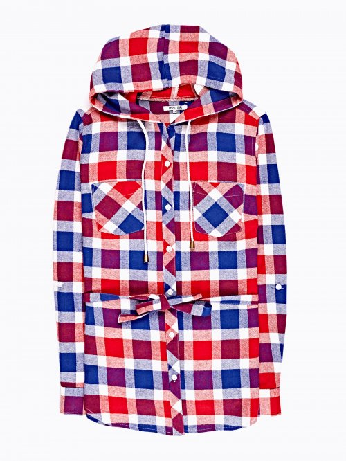 Prolonged plaid cotton shirt with hood