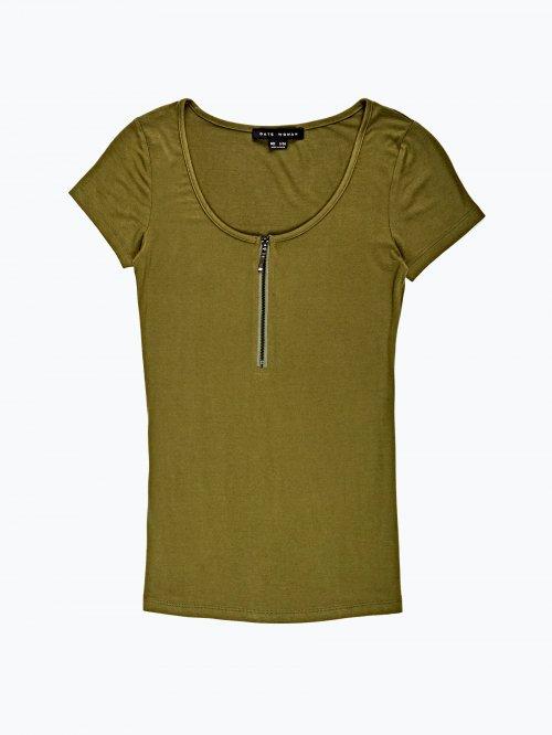 Zipper front t-shirt