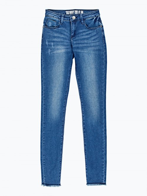 Cropper skinny jeans in dark blue wash