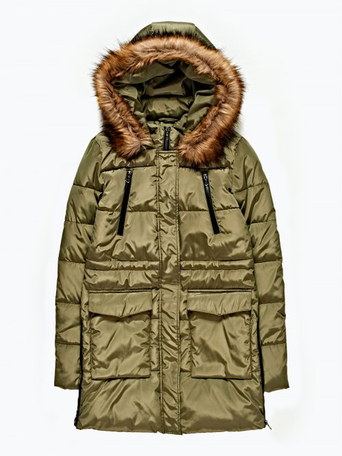 Prolonged padded jacket with side zippers