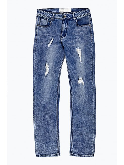 Damaged straight slim fit jeans in knit denim
