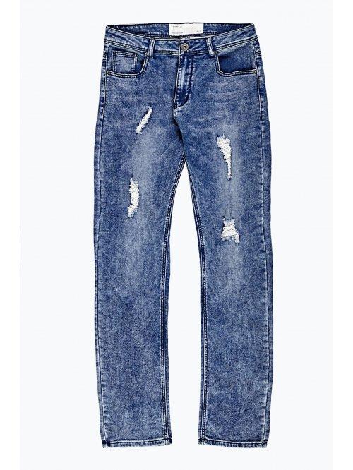 Rovné džíny slim fit s obnošeným vzhledem