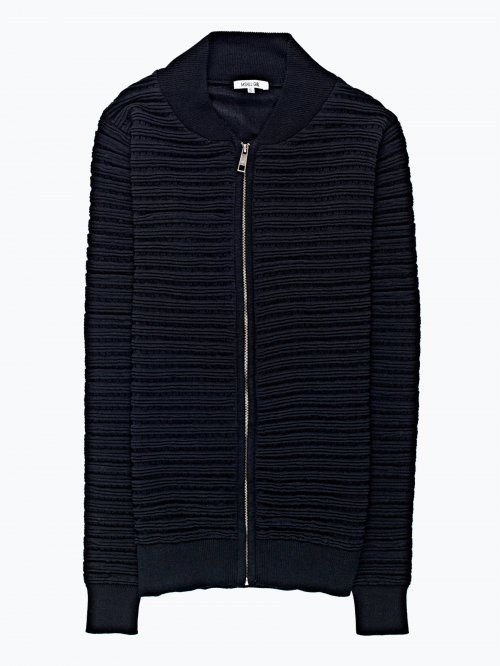 Zip-up cardigan with back print