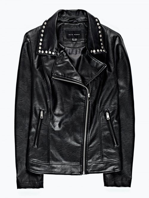 Faux leather jacket with back print