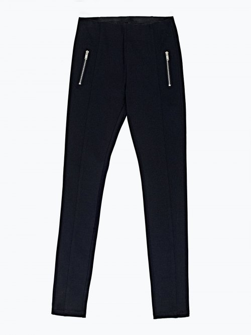Knit trousers with zippers