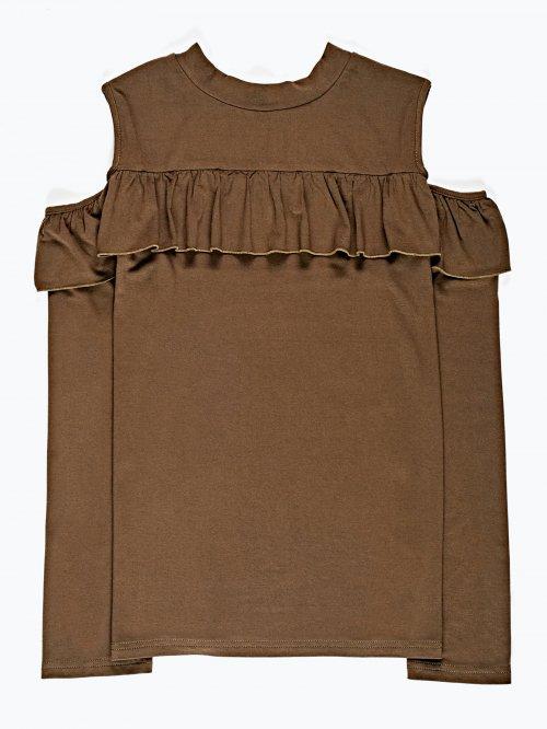 Drapowana koszulka z odkrytymi ramionami
