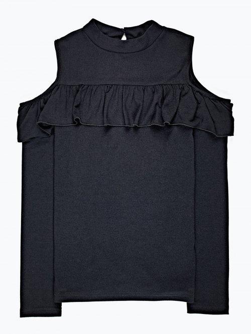 Open-shoulder frill top