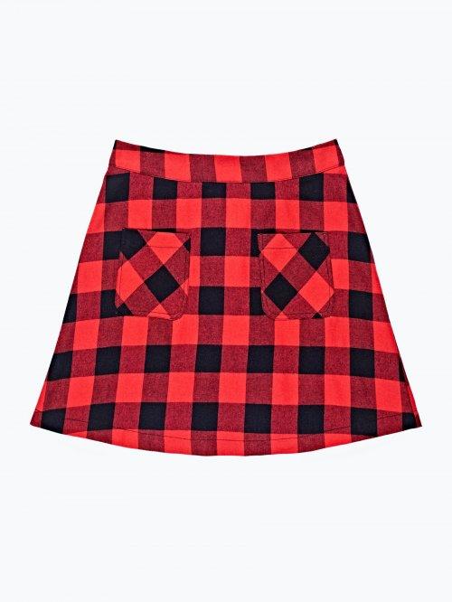Kockovaná áčková sukňa s vreckami