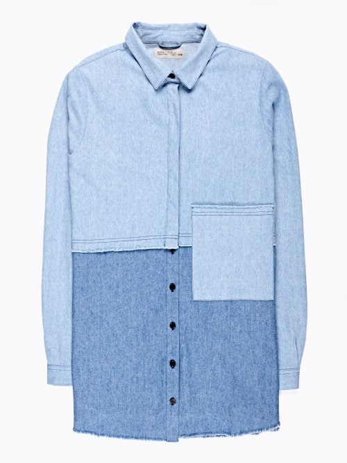 Prolonged denim shirt with pocket