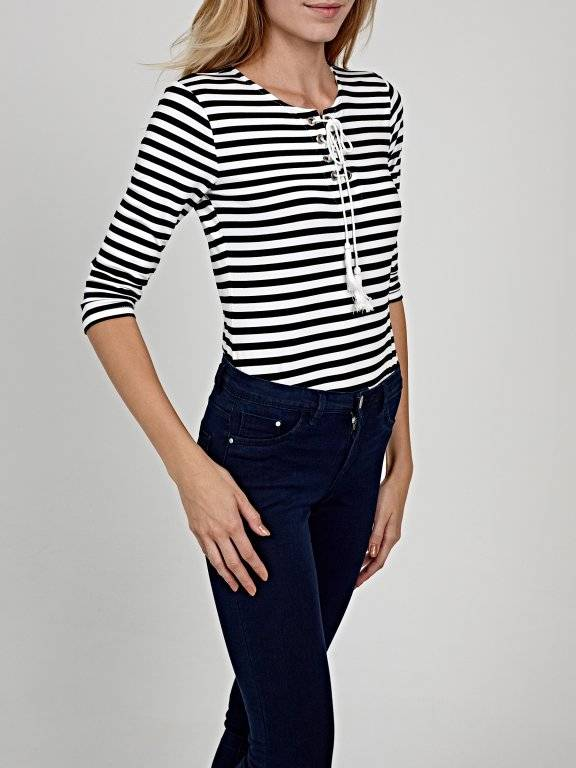 Lace-up striped top