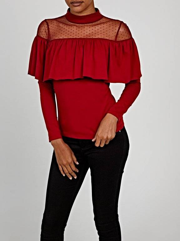 Ruffle top with mesh