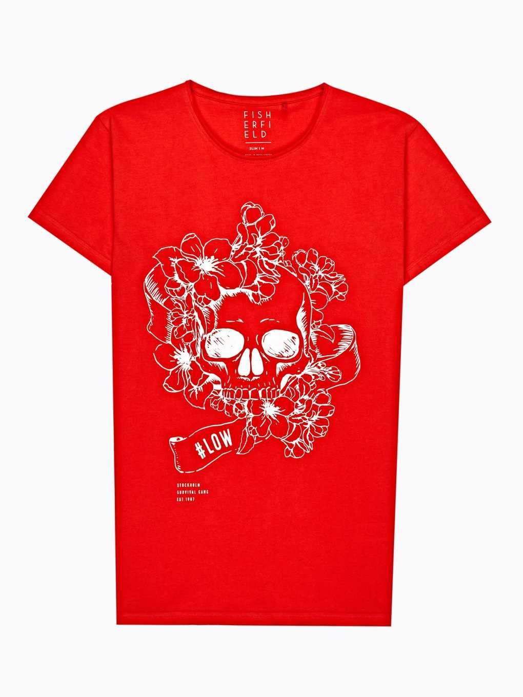 Skull print t-shirt with raw edges