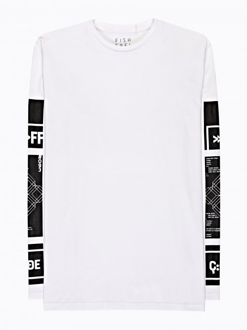 T-shirt with printed sleeves