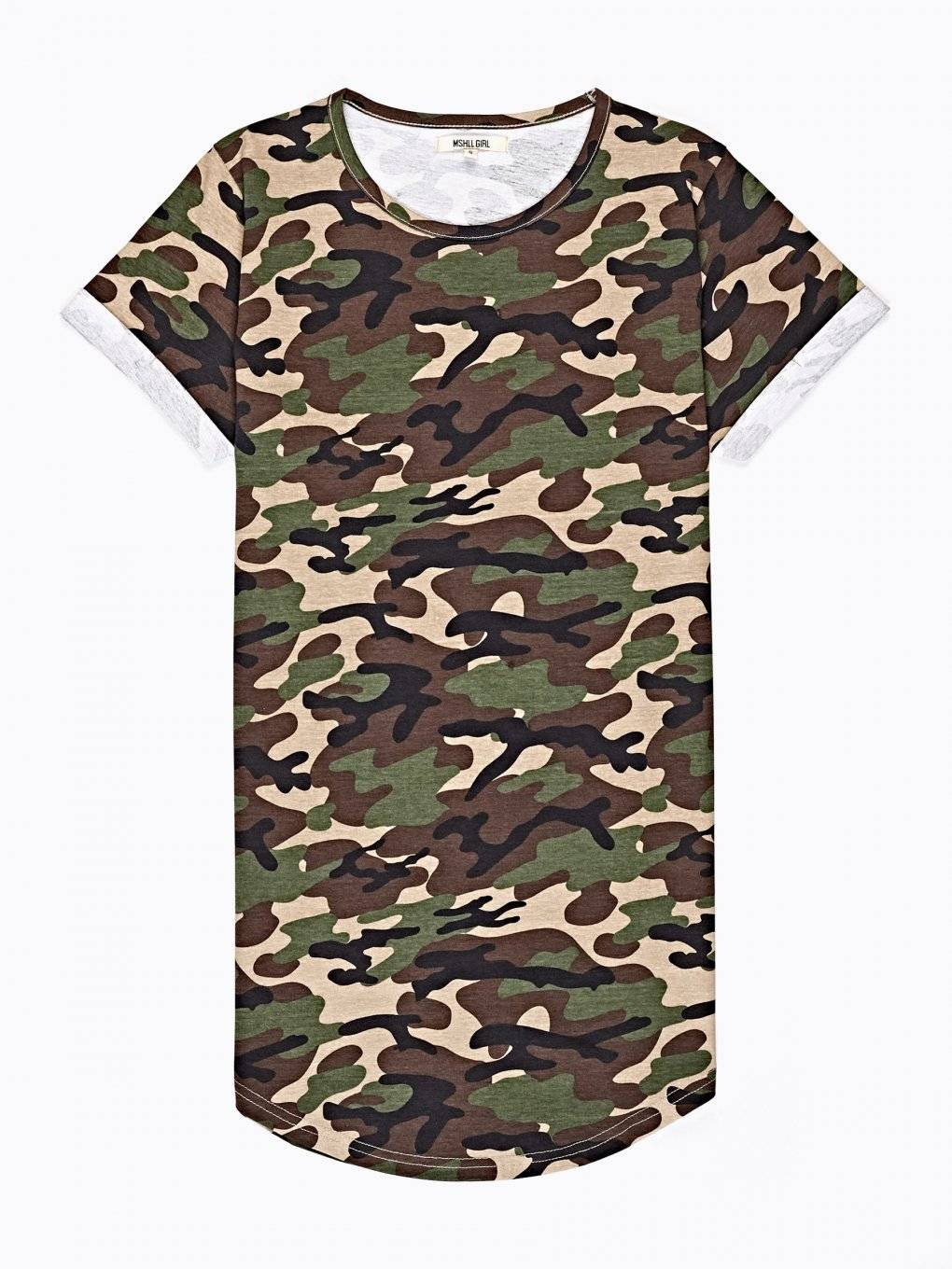 Camo print t-shirt with print on back