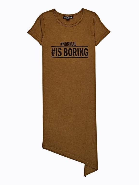 Longline asymmetrical t-shirt with message print