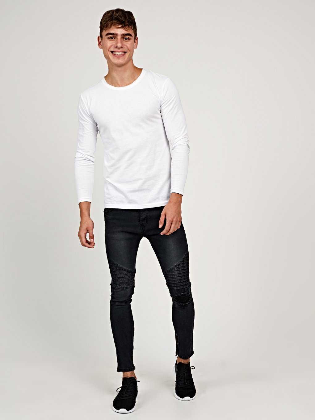 Ripped knee slim cropped fit biker jeans