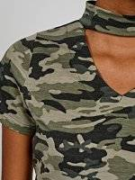Camo print choker collar top