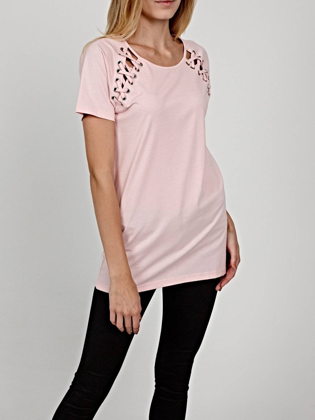T-shirt with front lacing