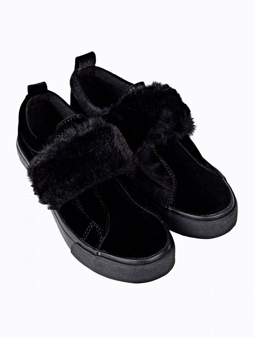 Velvet slip-ons with faux fur strap
