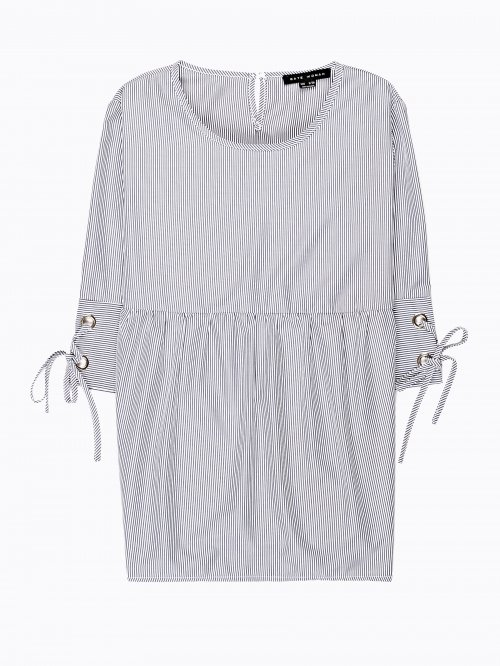 Striped ruffle blouse with sleeve lacing