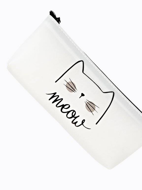 Silicone pencil case with cat print