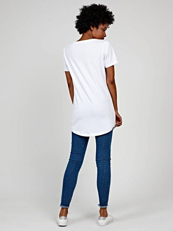 Longline distressed t-shirt with print