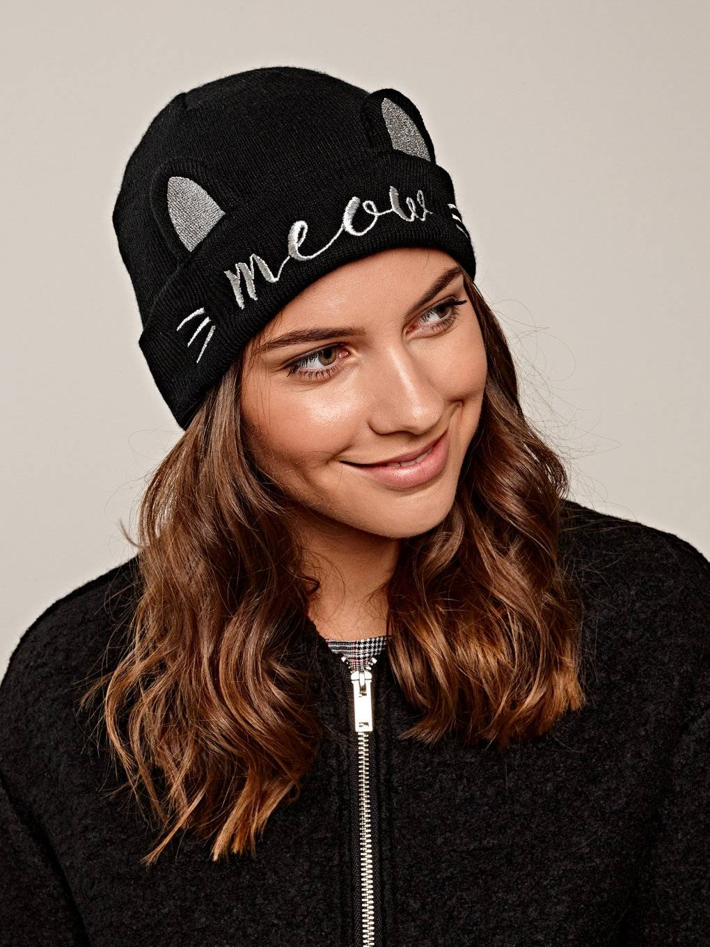 Beanie with embroidery and ears
