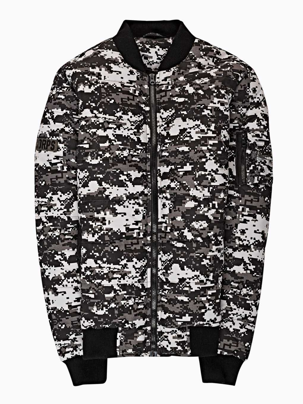 Camo print light padded bomber jacket