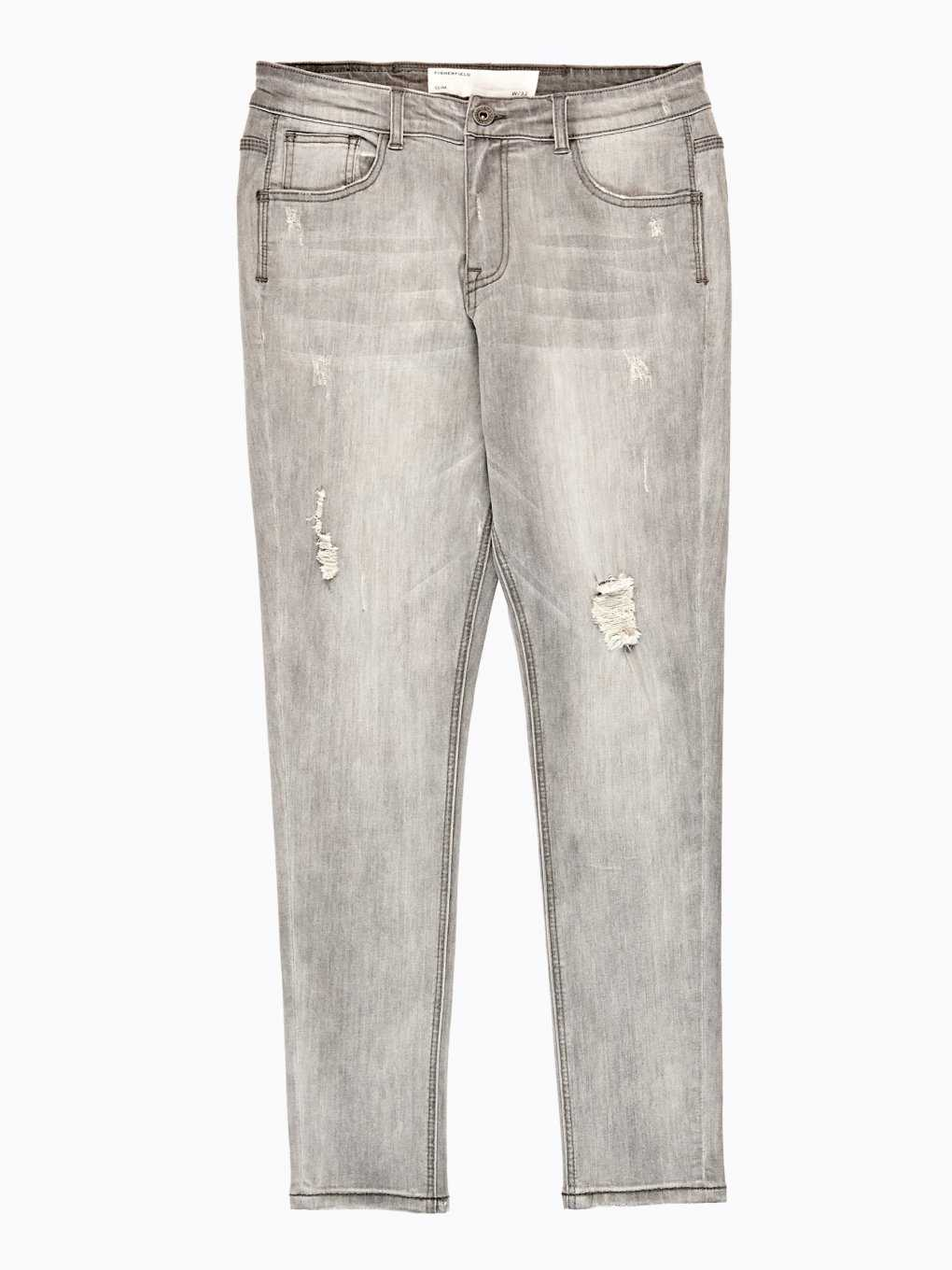Ripped knee straight slim fit jeans