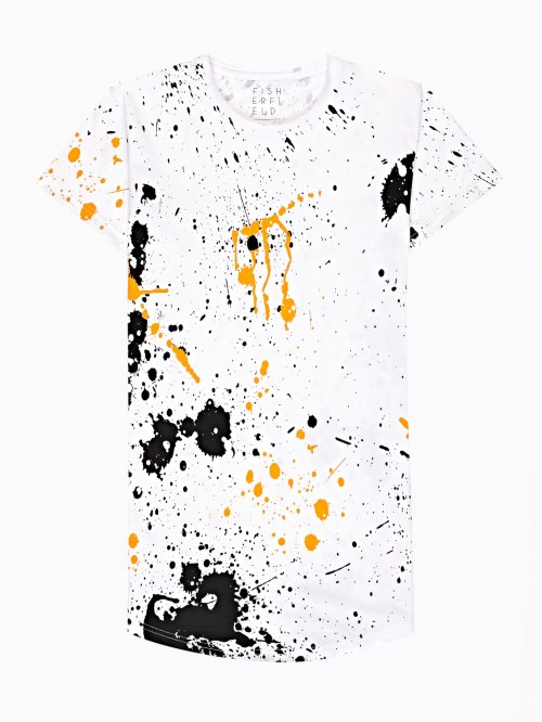 Printed t-shirt with scoop hem