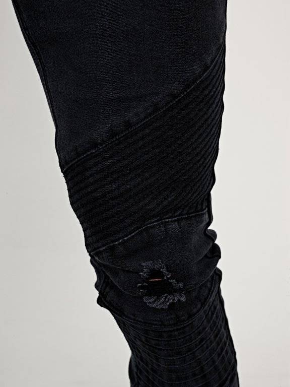 Damaged slim fit biker jeans