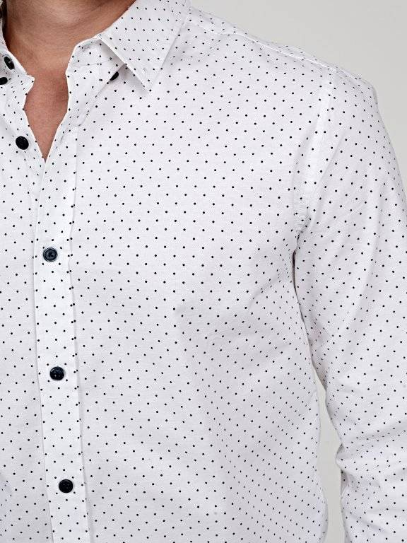 Polka dot print slim fit shirt with elbow patches