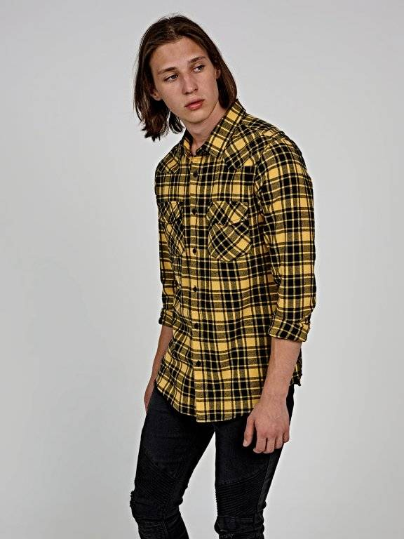 Regular fit plaid denim shirt