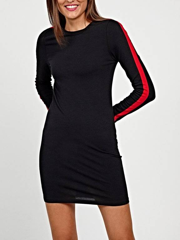 Jersey bodycon mini dress with side stripes
