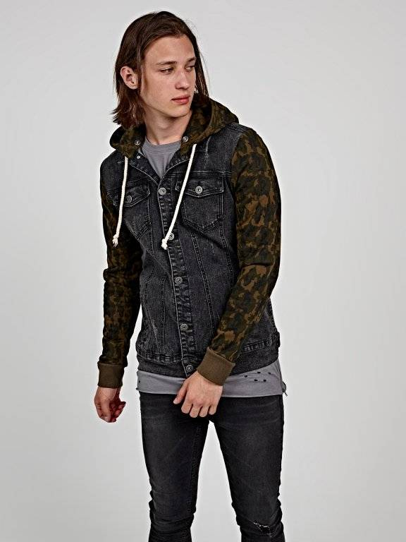 Denim jacket with camo print hood and sleeves