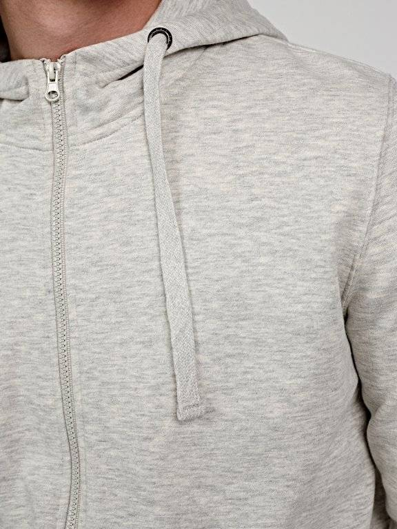 Zip-up hoodie with high collar