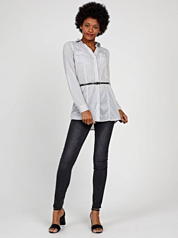 Longline striped knitted shirt with belt