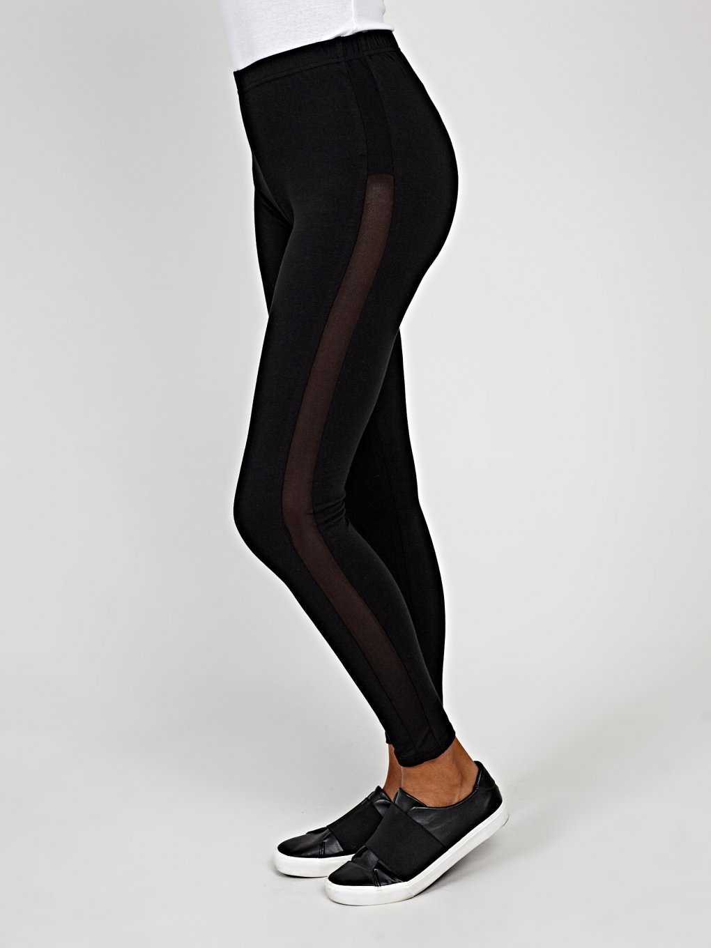 Leggings with mesh side stripe