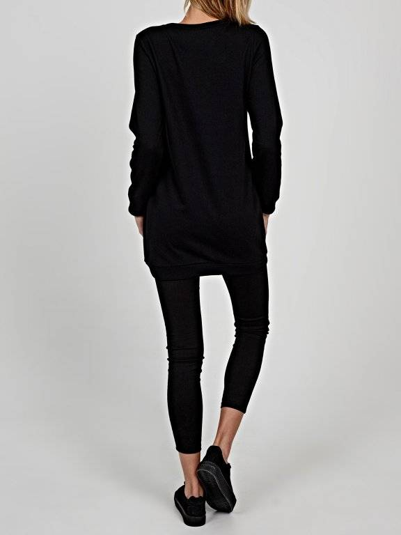 Longline sweatshirt with metallic message print