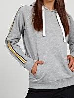 Hoodie with striped sleeve tape