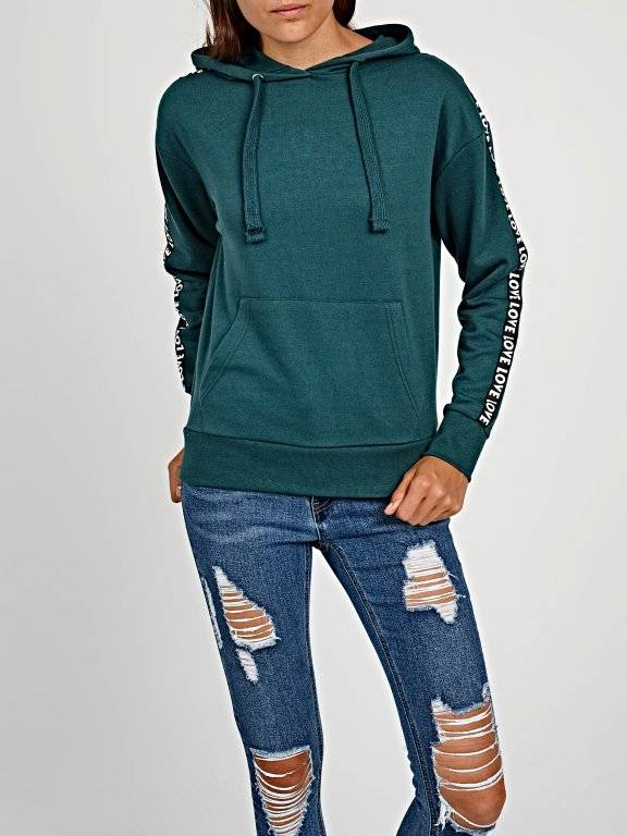 Hoodie with decorative sleeve tape