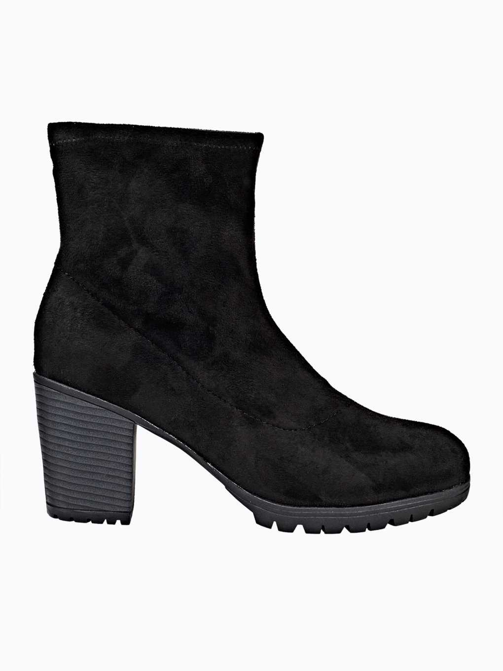 High heel sock ankle boots with track sole