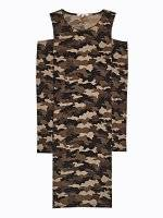Camo print cold-shoulders bodycon dress