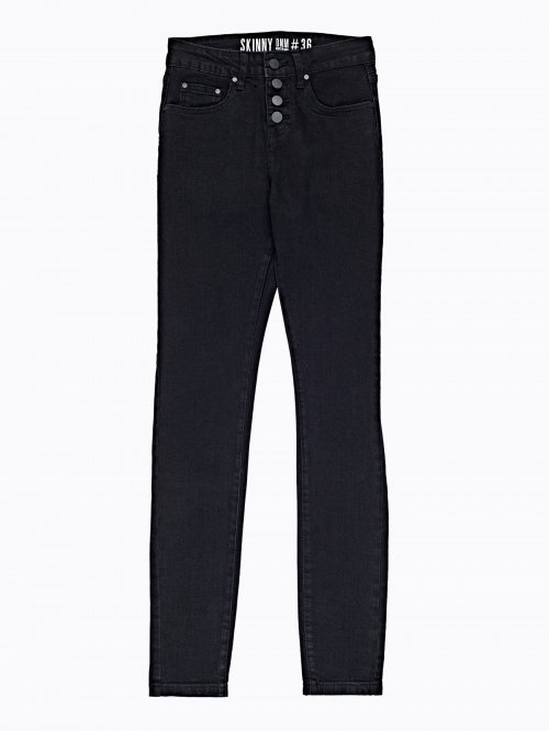 High-waist skinny jeans in black wash