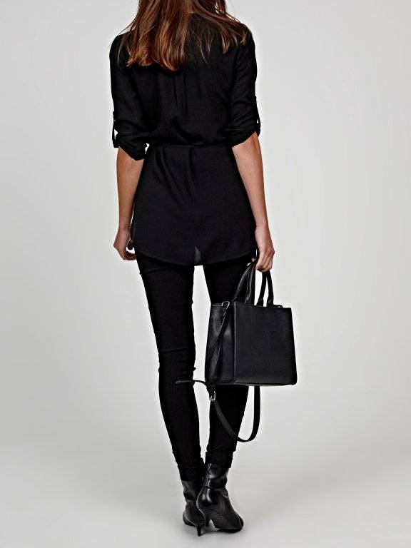 Longline basic viscose blouse with zipper