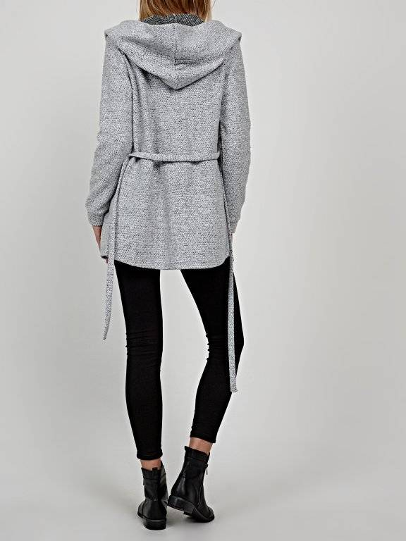 Marled hooded jacket with belt