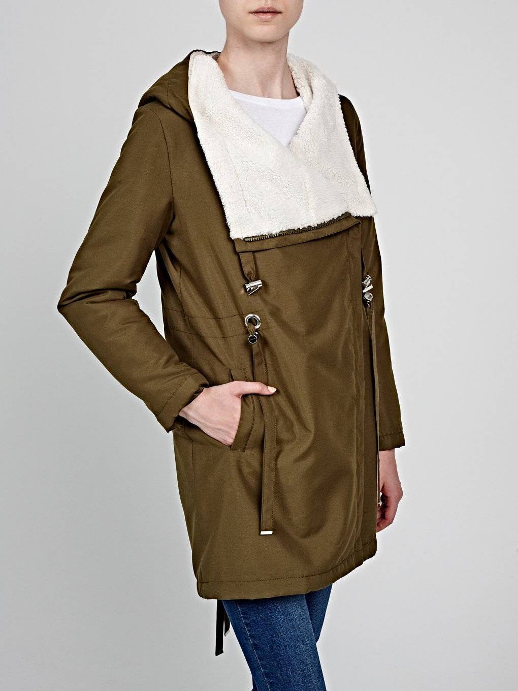 Pile lined parka with asymmetrical zipper