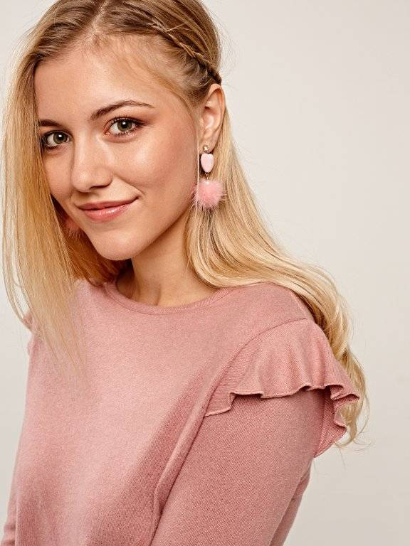 Heart and pom pom earrings