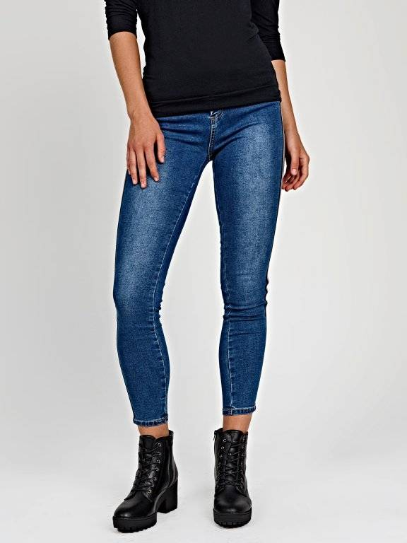 Skinny jeans with decorative tape