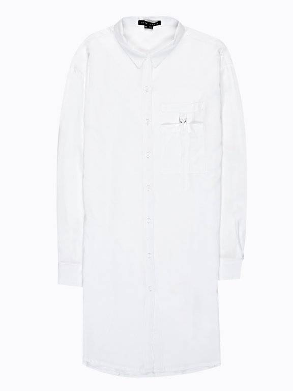 Longline viscose shirt with chest pocket